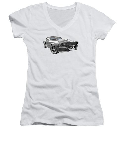 1967 Eleanor Mustang In Black And White Women's V-Neck T-Shirt (Junior Cut) by Gill Billington