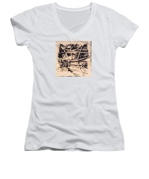 Women's V-Neck T-Shirt (Junior Cut) featuring the painting 1967 by Erika Chamberlin