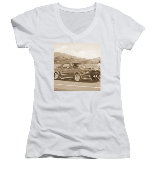 1967 Ford Mustang Fastback In Sepia Women's V-Neck