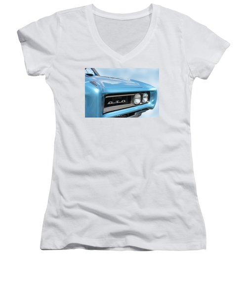 1968 Pontiac Gto Women's V-Neck T-Shirt (Junior Cut) by Betty Northcutt