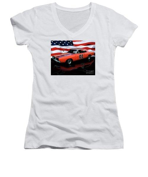 1969 General Lee Women's V-Neck T-Shirt (Junior Cut) by Peter Piatt
