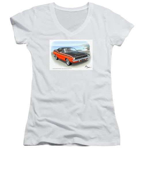 1970 Barracuda Aar  Cuda Classic Muscle Car Women's V-Neck T-Shirt (Junior Cut) by John Samsen