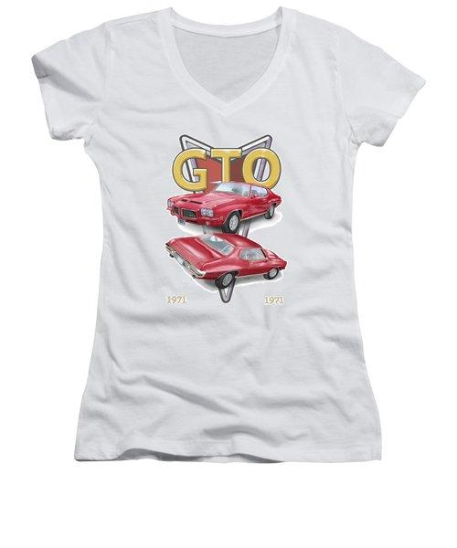 1971 Pontiac Gto Women's V-Neck