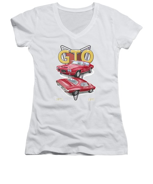 1971 Pontiac Gto Women's V-Neck (Athletic Fit)