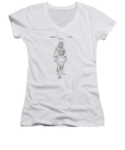 1973 Astronaut Space Suit Patent Artwork - Vintage Women's V-Neck T-Shirt (Junior Cut) by Nikki Marie Smith