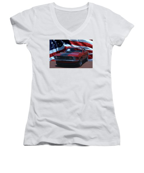 1970 Mustang Mach I Women's V-Neck (Athletic Fit)
