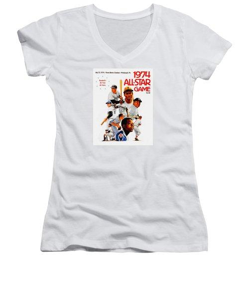 1974 Baseball All Star Game Program Women's V-Neck T-Shirt