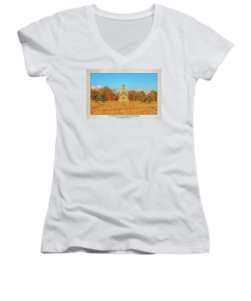 1st New York Battery D Gettysburg Poster Women's V-Neck T-Shirt (Junior Cut) by Randy Steele