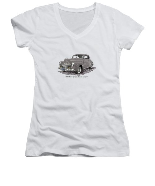 1946 Ford Special Deluxe Coupe Women's V-Neck (Athletic Fit)