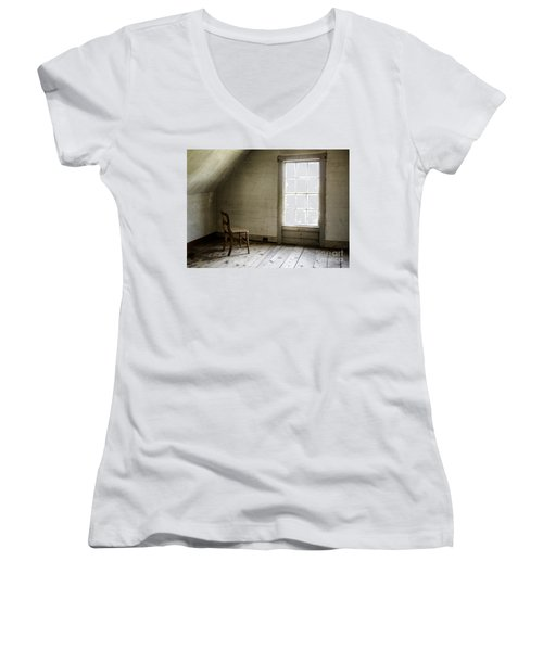 Abandoned   Women's V-Neck T-Shirt (Junior Cut) by Diane Diederich