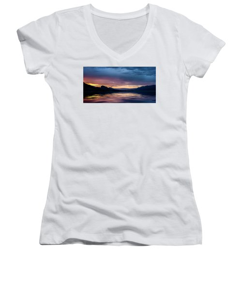 Women's V-Neck T-Shirt featuring the photograph Across The Clouds I See My Shadow Fly by John Poon