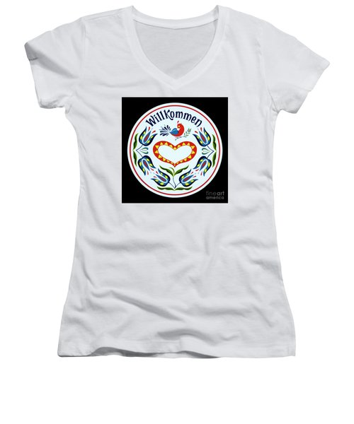 Women's V-Neck T-Shirt (Junior Cut) featuring the photograph Amish Barn Hex Design by Paul W Faust - Impressions of Light
