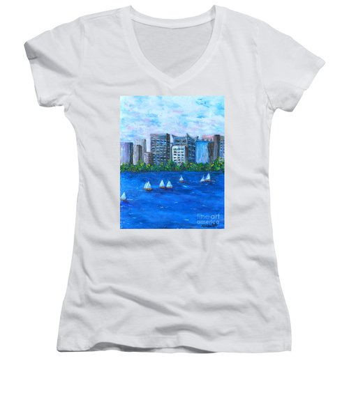 Women's V-Neck T-Shirt (Junior Cut) featuring the painting Art Study by Reina Resto