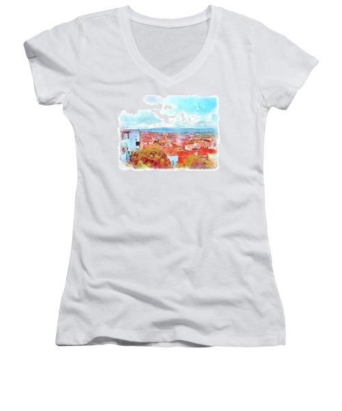Arzachena View Women's V-Neck T-Shirt