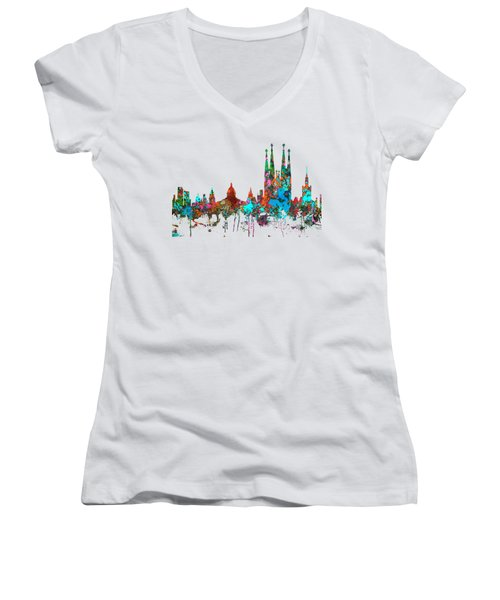 Barcelona Spain Skyline Women's V-Neck T-Shirt (Junior Cut) by Marlene Watson
