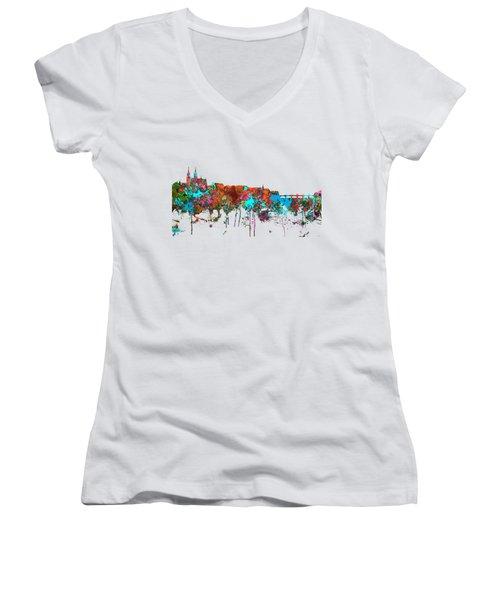 Basle Switzerland Skyline Women's V-Neck T-Shirt (Junior Cut) by Marlene Watson