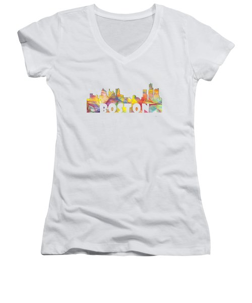 Boston Massachusetts Skyline Women's V-Neck T-Shirt (Junior Cut) by Marlene Watson
