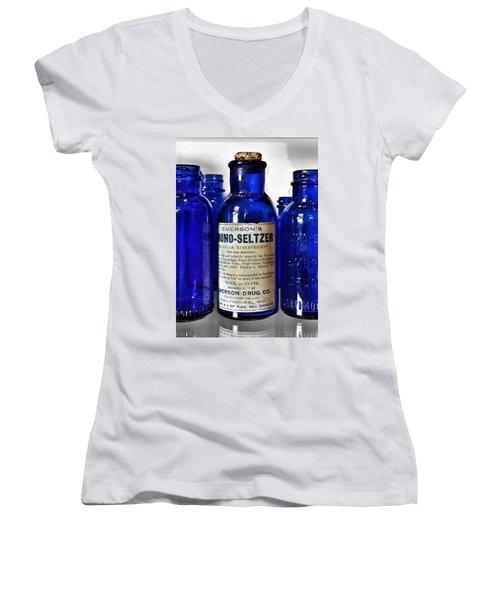 Bromo Seltzer Vintage Glass Bottles Collection Women's V-Neck (Athletic Fit)
