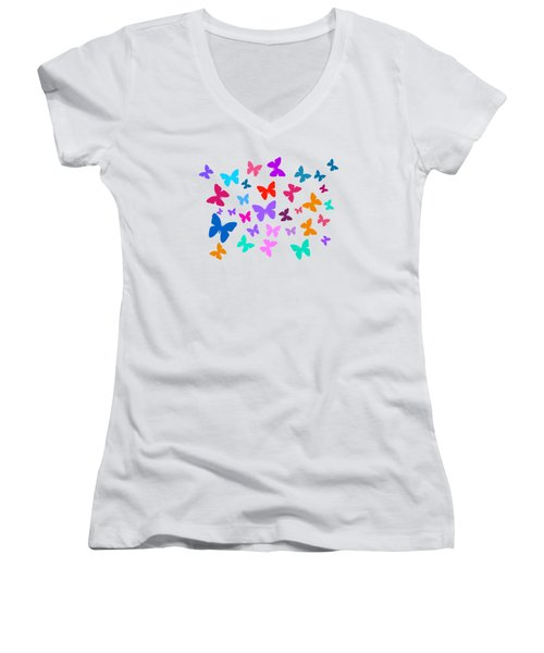 Butterflies Women's V-Neck (Athletic Fit)