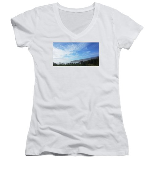 Women's V-Neck T-Shirt (Junior Cut) featuring the photograph Cape Lookout by Angi Parks