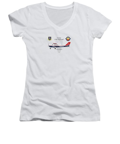 Cessna 172s Skyhawk Women's V-Neck T-Shirt (Junior Cut) by Arthur Eggers