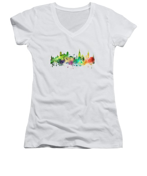 Christchurch Nz Skyline Women's V-Neck (Athletic Fit)