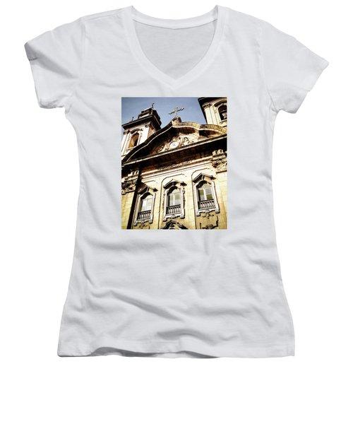 Church Women's V-Neck T-Shirt (Junior Cut) by Cesar Vieira