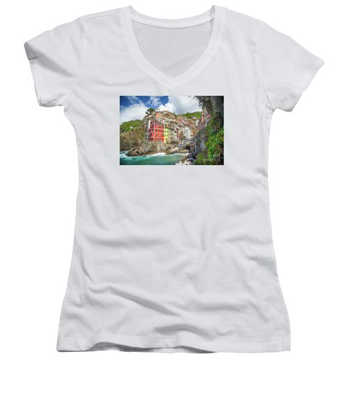 Colors Of Cinque Terre Women's V-Neck T-Shirt (Junior Cut) by JR Photography
