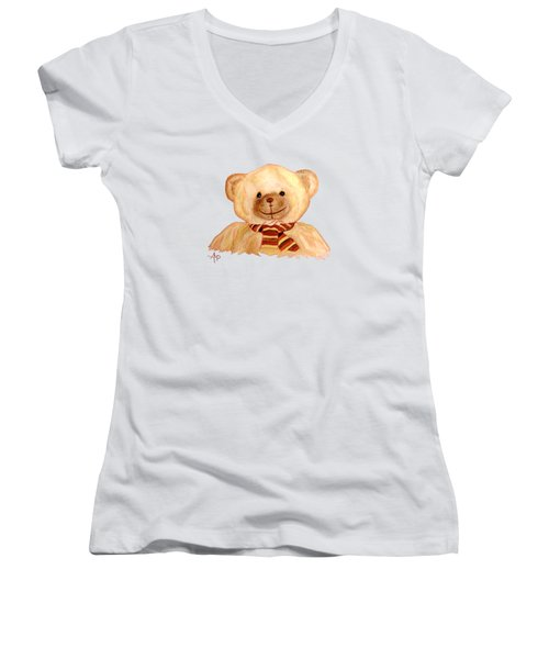 Cuddly Bear Women's V-Neck T-Shirt (Junior Cut) by Angeles M Pomata