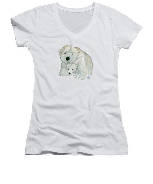Cuddly Polar Bear Women's V-Neck T-Shirt (Junior Cut) by Angeles M Pomata