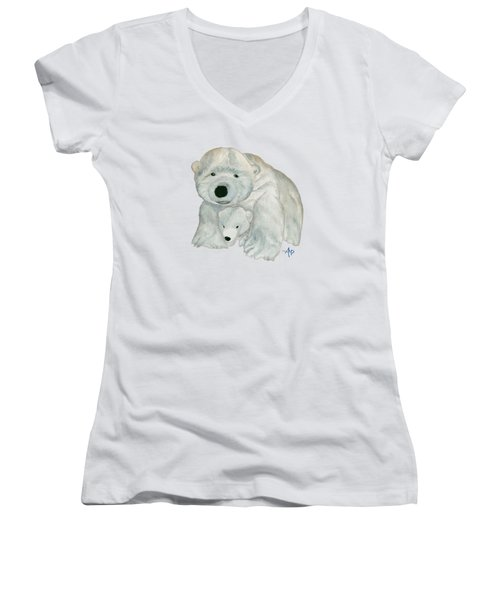 Cuddly Polar Bear Women's V-Neck T-Shirt