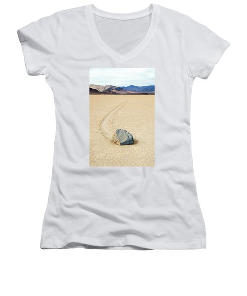 Death Valley Racetrack Women's V-Neck T-Shirt (Junior Cut) by Breck Bartholomew