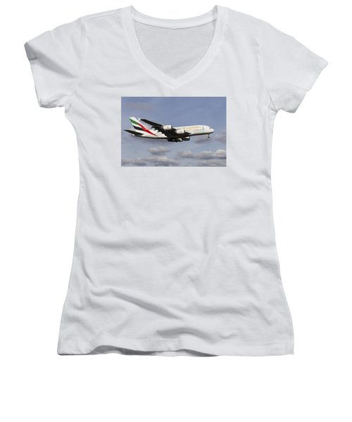 Emirates A380 Airbus Women's V-Neck T-Shirt