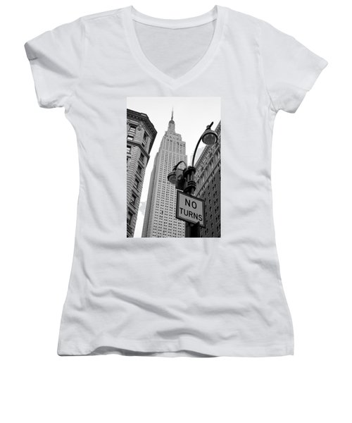 Women's V-Neck T-Shirt (Junior Cut) featuring the photograph Empire State Building by Michael Dorn