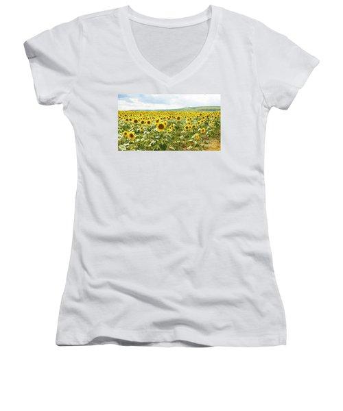 Field With Sunflowers Women's V-Neck T-Shirt (Junior Cut) by Irina Afonskaya