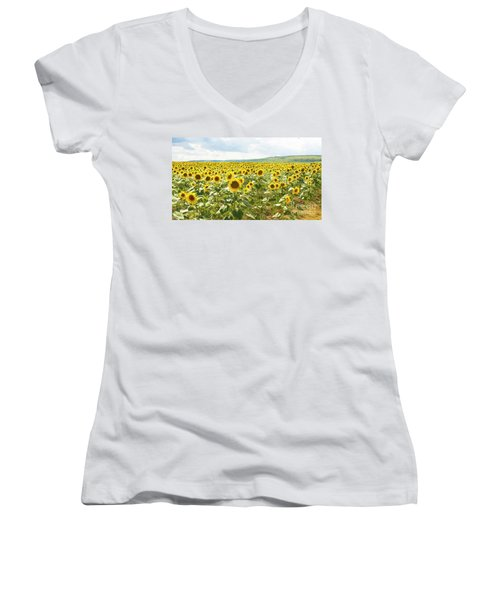 Field With Sunflowers Women's V-Neck (Athletic Fit)