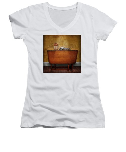 2 Fish And A Jug Women's V-Neck T-Shirt (Junior Cut) by Marty Garland