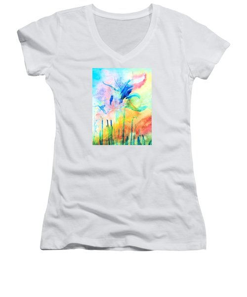 Floral Abstract Women's V-Neck (Athletic Fit)