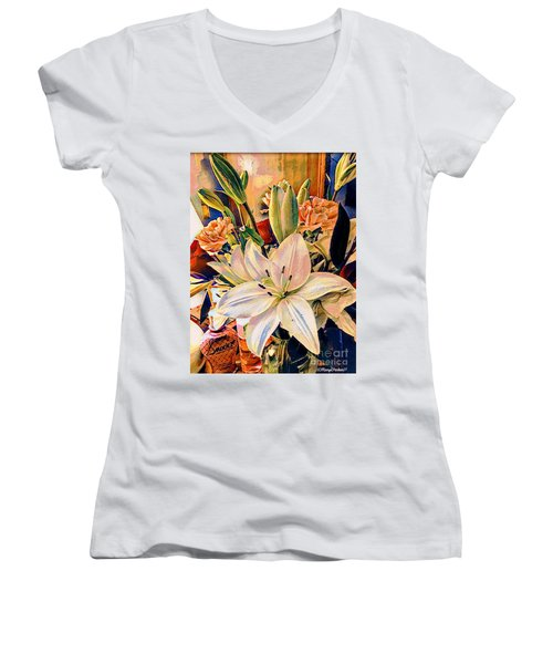 Flowers For You Women's V-Neck