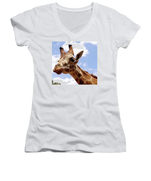 Giraffe Getting Personal 6 Women's V-Neck T-Shirt