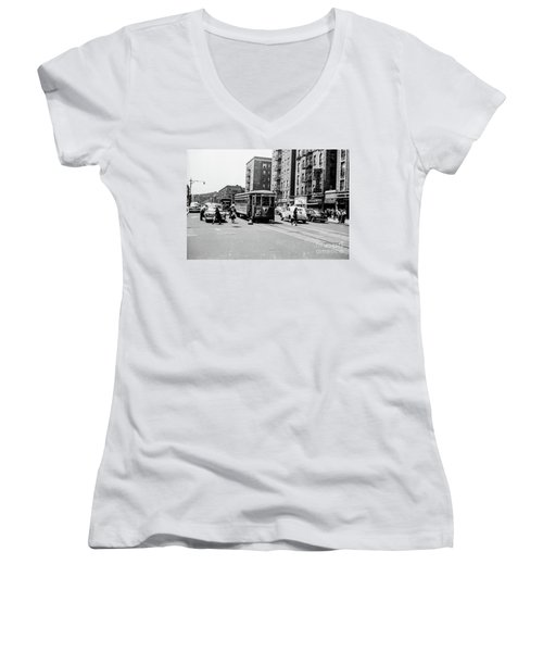 Women's V-Neck T-Shirt featuring the photograph Inwood Trolley  by Cole Thompson