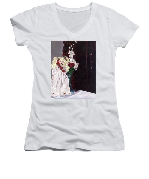 Women's V-Neck T-Shirt (Junior Cut) featuring the painting Jenessa by Jane Autry