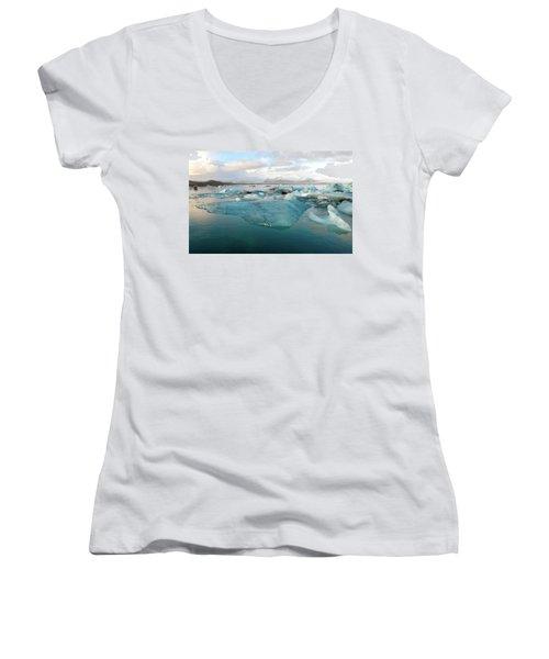Jokulsarlon The Glacier Lagoon, Iceland 2 Women's V-Neck T-Shirt (Junior Cut) by Dubi Roman