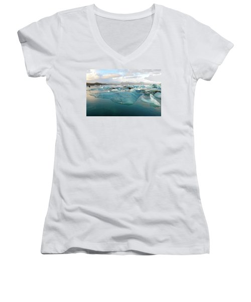 Women's V-Neck T-Shirt featuring the photograph Jokulsarlon The Glacier Lagoon, Iceland 2 by Dubi Roman