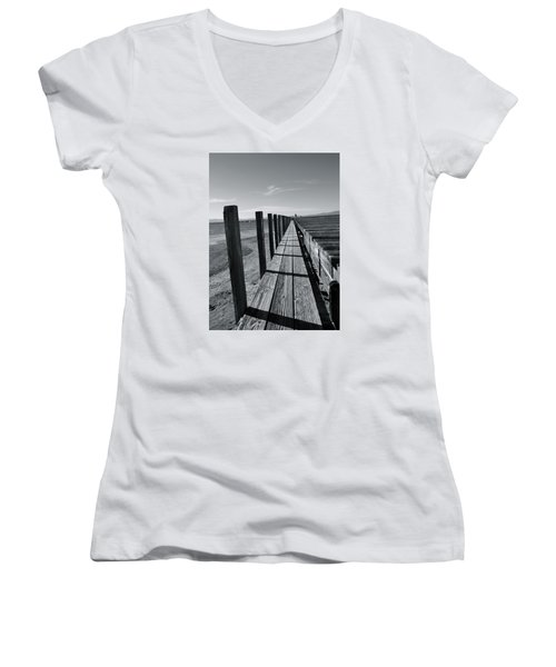Boardwalk To The Lake Women's V-Neck (Athletic Fit)