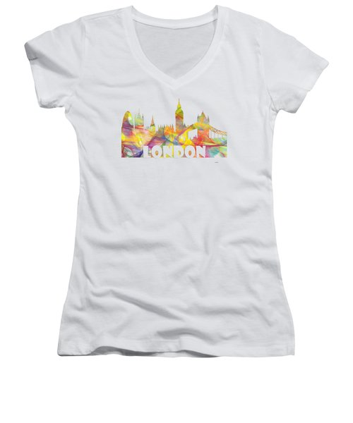London England Skyline Women's V-Neck (Athletic Fit)