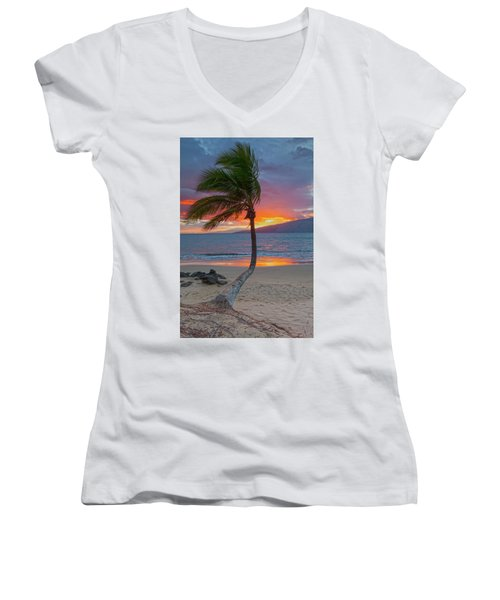 Lonely Palm Women's V-Neck T-Shirt (Junior Cut) by James Roemmling