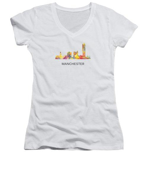 Manchester England Skyline Women's V-Neck T-Shirt