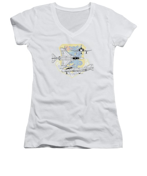 Mcdonnell Douglas F-4d Phantom II Women's V-Neck T-Shirt (Junior Cut) by Arthur Eggers