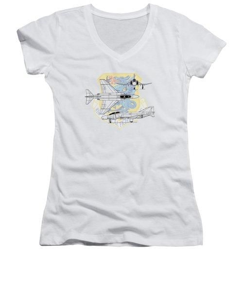 Mcdonnell Douglas F-4d Phantom II Women's V-Neck T-Shirt